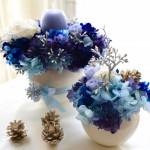 Mutsumiさん作品 コロンとした花器にコロンとしたキャンドルをあわせ 大・小のペアでデザインしました。